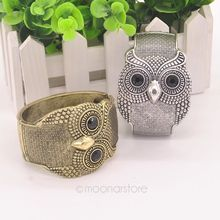Vintage Personalized Owl Style Alloy Bracelet Bangle Cuff Ladies Stylish Gold Silver Jewelry Collection FreeShipping FYMHM594(China (Mainland))