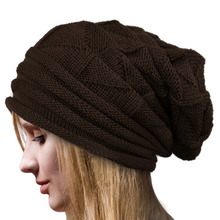 European Style Autumn Winter Fashion Unisex Knit Crochet Solid Warm Baggy Beanie Hat Oversized Slouch Cap 6 Colors