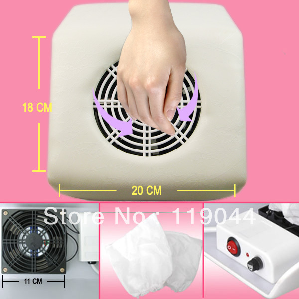 FREE SHIPPING 220V White Stripe Mini Size Nail Art Dust Suction Collector Vacuum Cleaner With Hand Rest Design + 2 Bags NA420