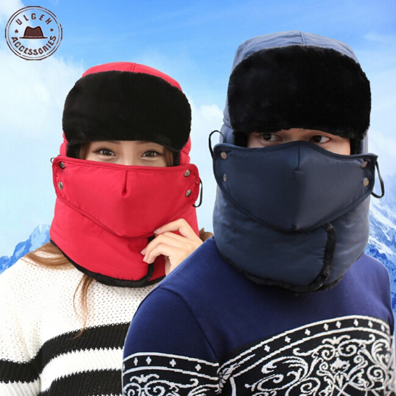 New arrival Earflap black Bomber hat scarf mask set Mens plush Russian Trapper Hat With Masks super warm Aviator caps [HUB146g](China (Mainland))