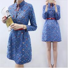 Dropshipping!2016 spring Autumn Cowboys long sleeve Denim dress Casual women dress(China (Mainland))