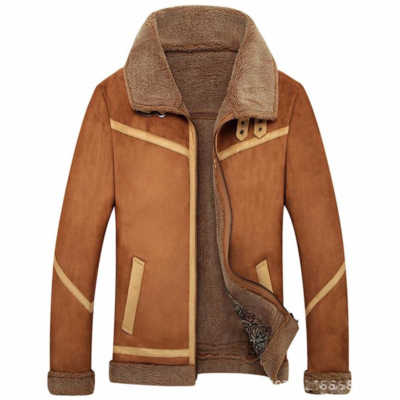 d49977c2a7b Fall-Men Leather Jacket With Fur Collar Winter Outerwear Coats Blue ...