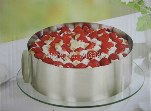 1PCS Mousse ring stainless steel circle mousse cake mould 6 - 12 adjustable retractable scraper E392(China (Mainland))