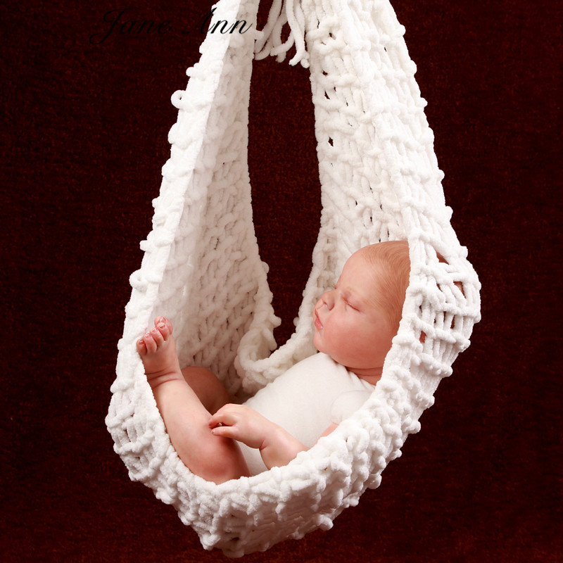 1 PC Crochet Baby white Hammock Photography Props Knitted Newborn Infant Costume Toddler Photo Props fotografia WA570 T50(China (Mainland))