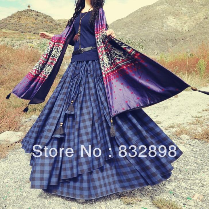 Hot Sale New Fashion Long Flowing Thick Cotton Print SkirtsОдежда и ак�е��уары<br><br><br>Aliexpress