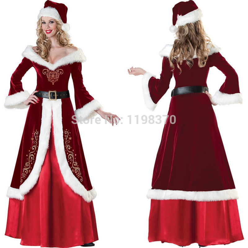 Christmas Party Dress Up Games: Womens Luxurious Miss Claus Santa Dress Sexy Queen