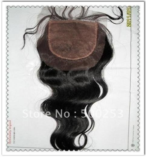 Body Wave 100% Natural Virgin Brazilian Hair stock Silk Top Closure(China (Mainland))