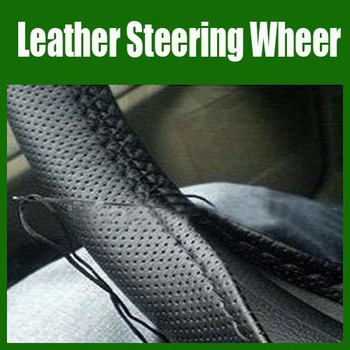 Free Shipping  New Black DIY Car Artificial Leather Steering Wheel Cover With Hole Size M.