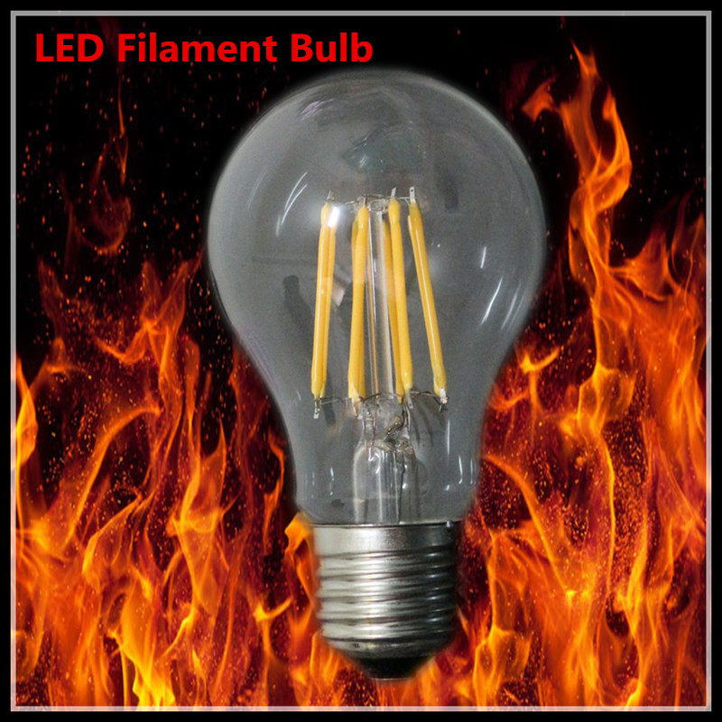 5X Retro LED Filament Light Bulb A60 E27 220V Dimmable 2W 4W 6W 8W Smart IC Driver No Flicker Low Heat Replace Edison Bulb(China (Mainland))