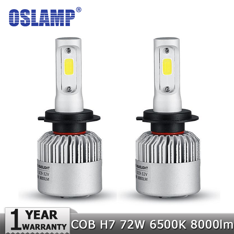 Oslamp H7 COB LED Car Headlight Bulb Kit 72W 8000lm Auto Front Light H7 Fog Light Bulbs 6500K 12V 24V Led Automotive Headlamp(China (Mainland))