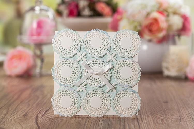 50 sets(Card+envelop+seal)Flower Lace Wedding Invitations Cards Engagement Gatefold Invites Favors W/Ribbon 10.5*10.5CM - Coohill store
