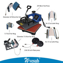 Advanced CE 8 In 1 Combo Heat Transfer Machine Sublimation/Heat Press Machine For Mug Phone Case T-Shirt Plate Cap Ect Printing