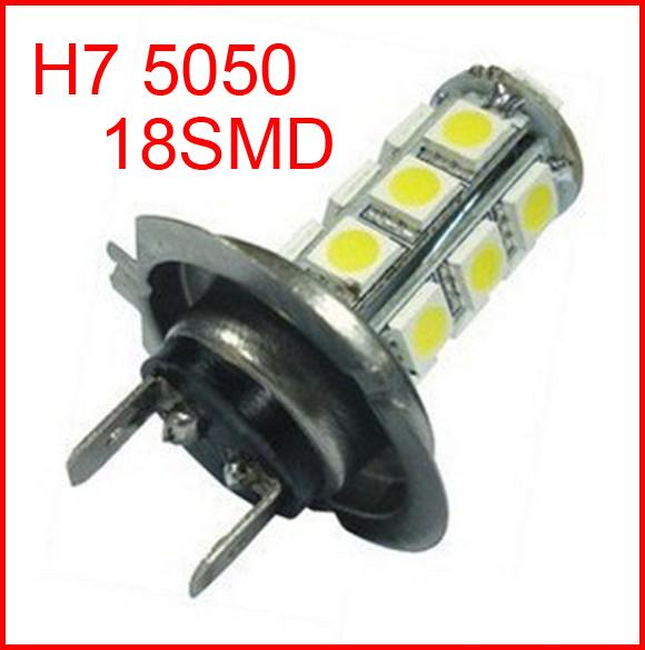 New arrival Free shipping H7 car led light auto led lamp H7 18 SMD 5050 White Fog Tail Signal 18 LED Car Light Lamp Bulb 12V<br><br>Aliexpress