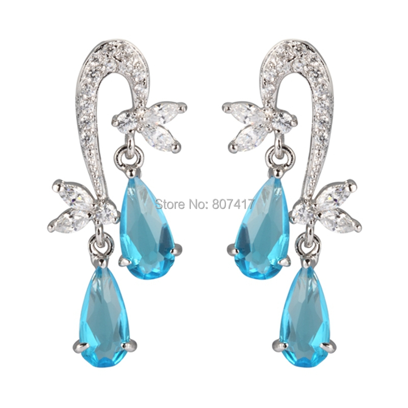 Fashion Blue Cubic Zirconia Silver Plated Long Earrings E4073 European Jewelry For Women Ring Wedding Party Birthday Top Quality(China (Mainland))