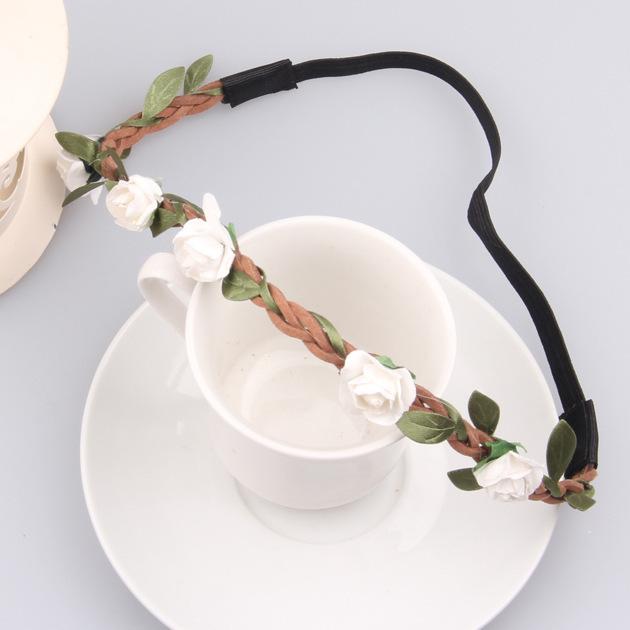 Hot Sale Flower Crown Headband Beautiful Rose Flower Headbands For Girls Bohemian Style Wreath Wedding Floral