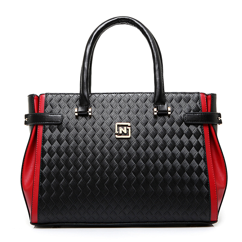 Fashion large capacity weave pattern women handbags designer high quality PU leather patchwork knitting bag brand bolsas kabelky(China (Mainland))