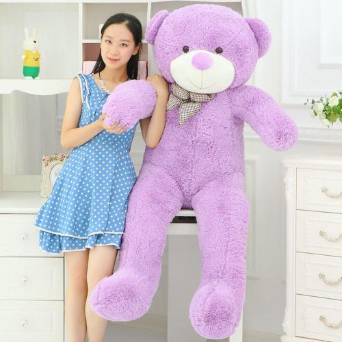GIANT 120CM BIG CUTE light purple PLUSH TEDDY BEAR HUGE SOFT 100% PP COTTON TOY(China (Mainland))