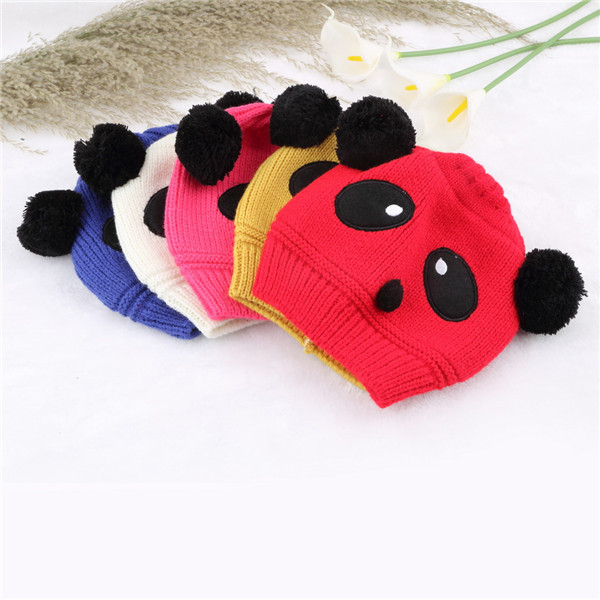 Гаджет  1pc Winter Colorful Panda Hat Knit Warm Crochet Cap for Baby Girl Boy Kids Newest None Одежда и аксессуары