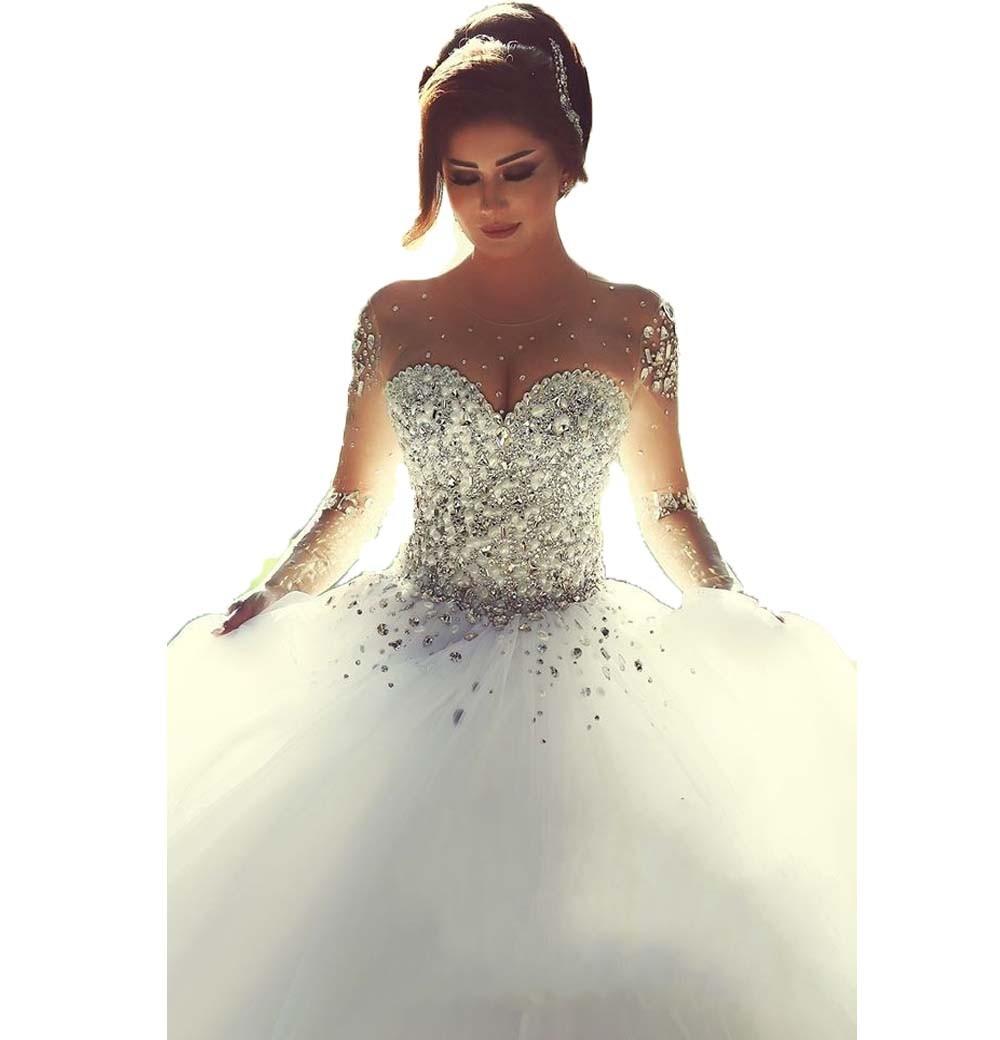 2016 New Romantic Long Sleeve Wedding Dress Vestido De