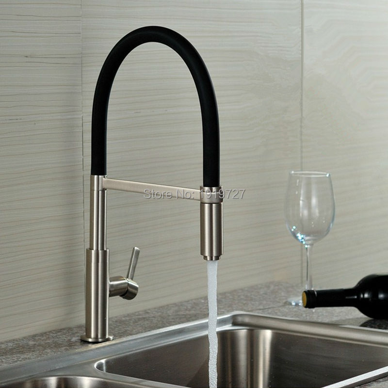 Newly Patent Design 360 Swivel 100% Solid Brass Single Handle Mixer Sink Tap Pull Out Down Kitchen Faucet In Brushed Nickel(China (Mainland))