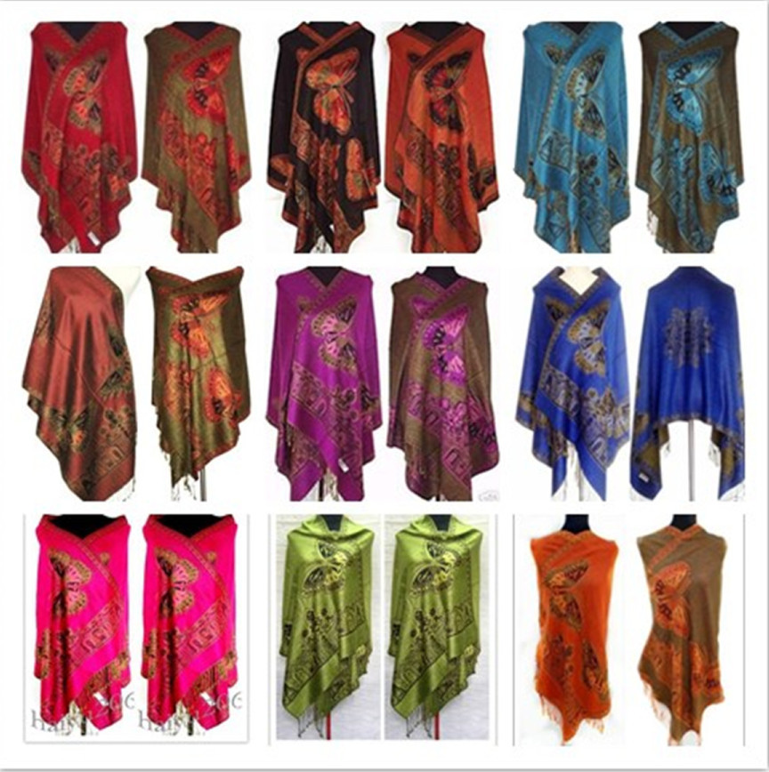 Hot!! 11 styles New Double-Side butterfly Women's Cashmere Pashmina Shawls/Scarf Scarves Wrap(China (Mainland))