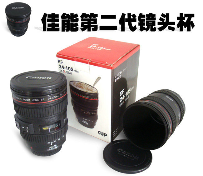 20pcs/lot New free shipping promotion gift creative gift product self-stirring camera lens coffee cup mugs(China (Mainland))