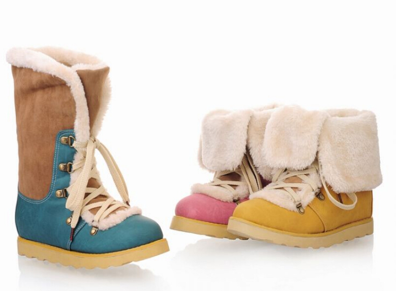 Faux suede Ankle boots fashion comfortable faux fur snow boots for women Lace-up shoes(China (Mainland))