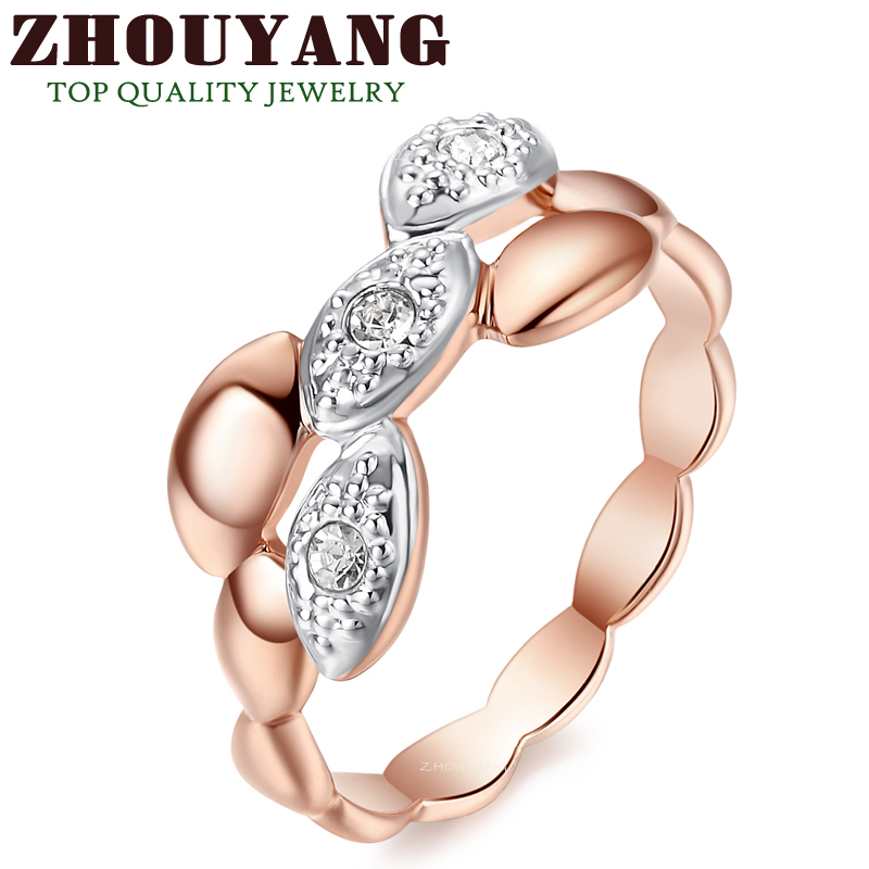 R250 Concise Crystal Ring 18K Champagne Gold Plated ITALINA Genuine Austrian Crystals Full Sizes Wholesale(China (Mainland))