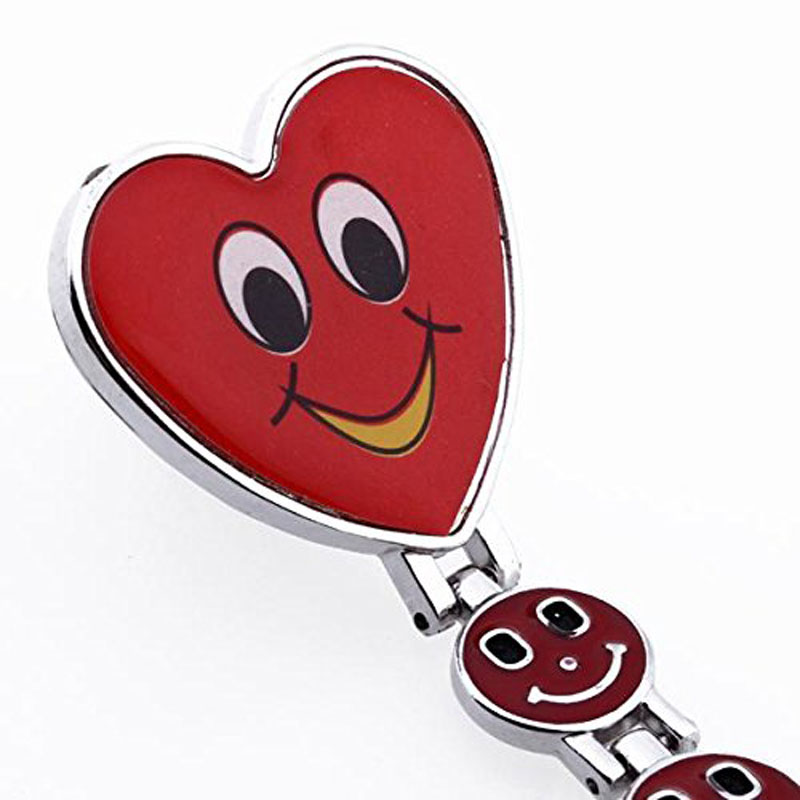 bowaiwen #0031 Fashion  Red Heart Shape Quartz Movement Nurse Brooch Fob Tunic Pocket Watch