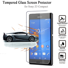HD Tempered Glass Film for Sony Xperia Z3 Compact Anti-Explosion 2.5D Radian 0.3MM Premium Screen Protector with Retail Package