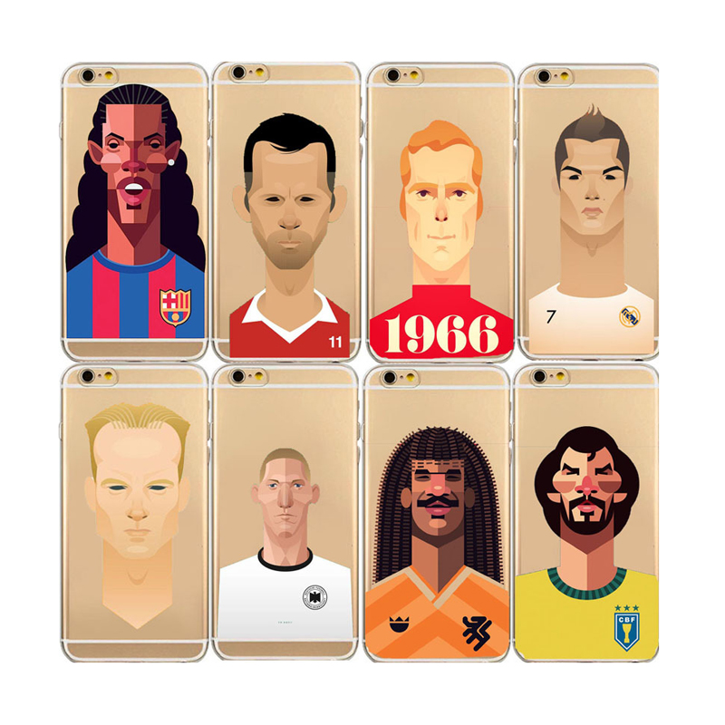 Ultra Thin Phone Cases Fashion Cartoon Football Players Soccer Superstars Soft TPU Cover for Apple iPhone 5 5s SE 6 6s 7 Plus(China (Mainland))