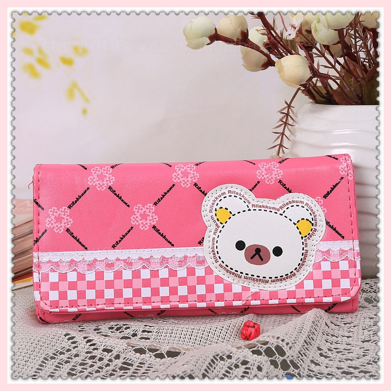 women long pink sweet wallets 2014 new fashion clutch pu leather purse bag money holder handbags girls - Saralotus Woman Handbag store