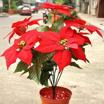 Free Shipping 1 Pcs Artificial Flowers 45cm 5 Head Poinsettia Flowers Christmas Decorations/High-grade Raw Silk Plastic