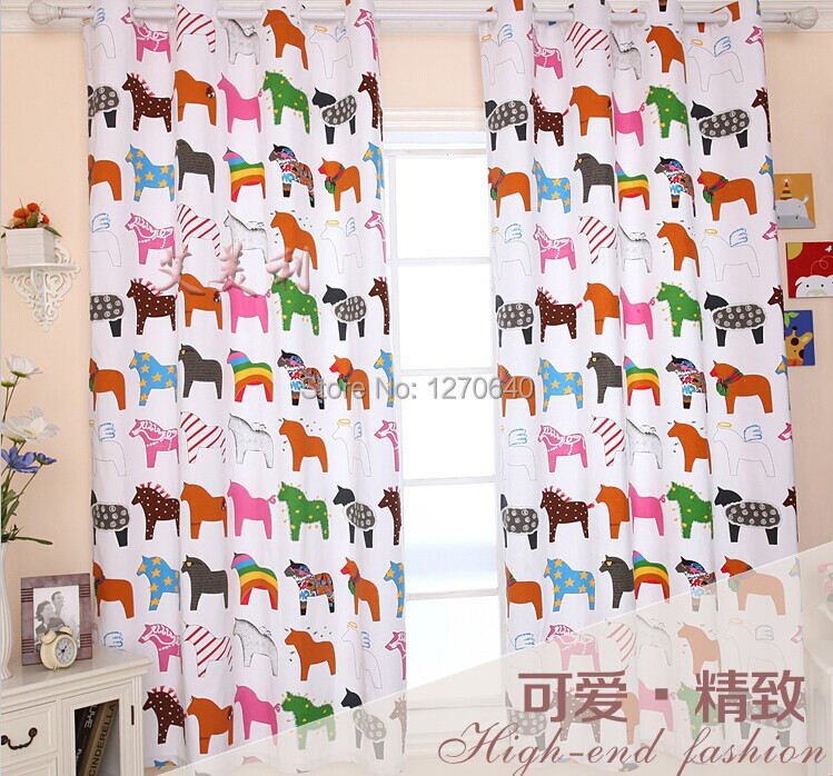 High quality horse design bedroom curtain for baby room, Korean printing short balcony window curtain shade home decoration(China (Mainland))