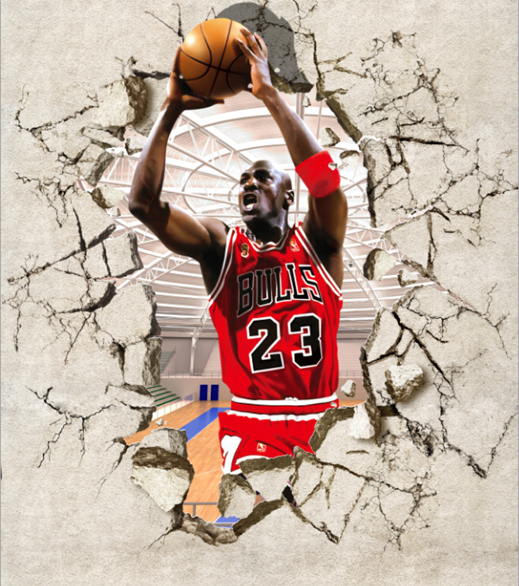 Basketball star michael jordan gym entrance background for Basketball mural wallpaper