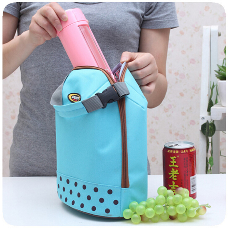 portable ice pack multicolor women girl lunch box cooler zipper bag bento dot tote little. Black Bedroom Furniture Sets. Home Design Ideas