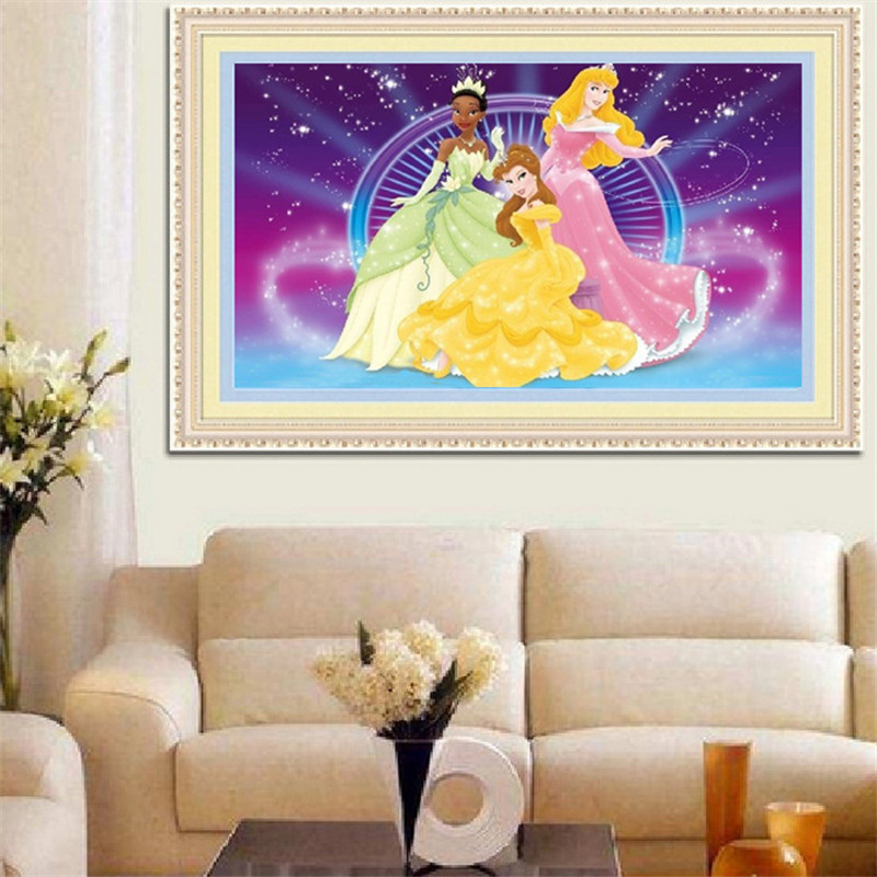 Square rhinestone picture crystals embroidery 5d diy diamond painting three princesses cross stich size 30*40cm - Fashion factors store