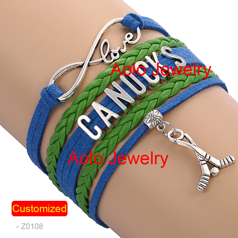 6Pcs/Lot VANCOUCKS HOCKEY Infinity Bracelet ROYAL BLUE/GREEN Make Your Own Design Free Shipping #1332(China (Mainland))