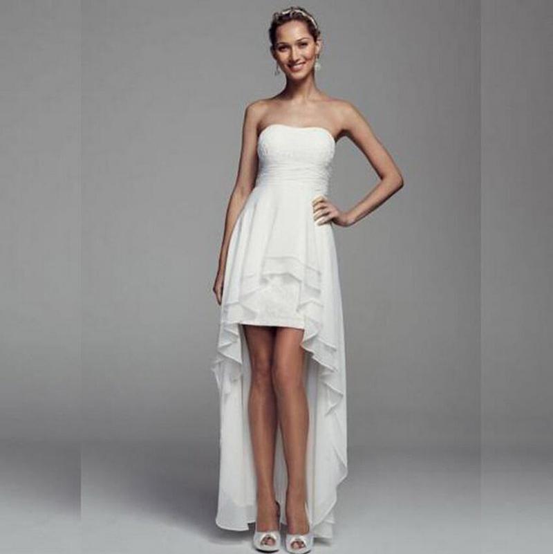 Simple High-Low Chiffon Wedding Dresse Short Front Long Back Strapless Zipper Tiered Ruffle Bridal Gown vestidos de novia 2015(China (Mainland))