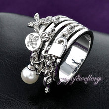 2015 New Arrival Fashion Key Ring pear and Lock adorns antique silver rings cuff for female