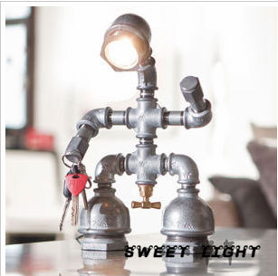 Retro industrial personality Decoration robot pipe iron LED table Lamp Mains lights Cafe props Bedroom bedside lamp Loft(China (Mainland))