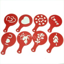 Free Shipping New Hot Creative Coffee Barista Stencils Template Strew Pad Duster Spray Art