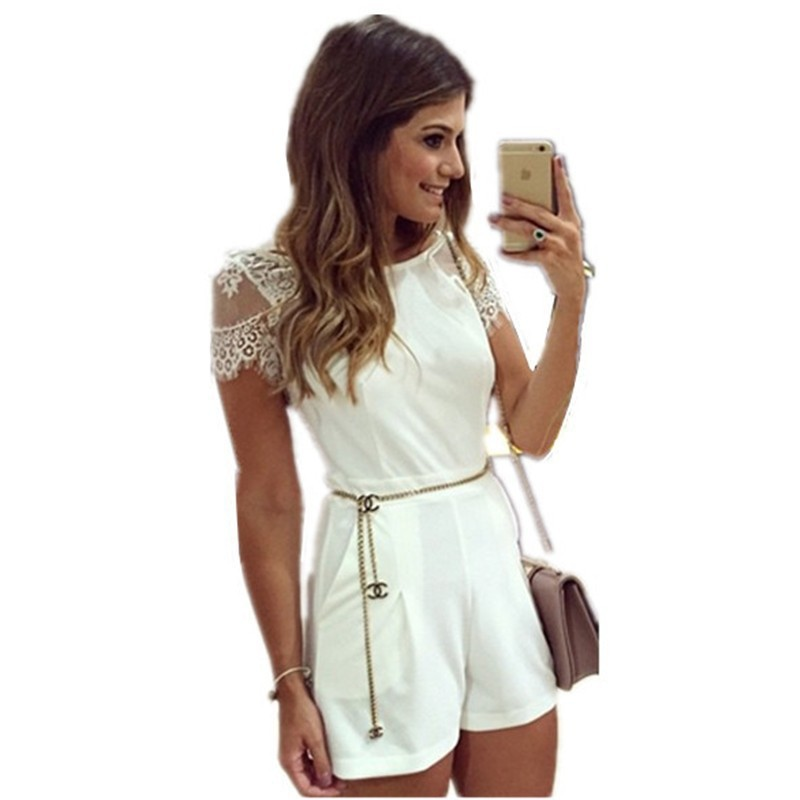 School Girl Cute Solid Fashion Summer Shorts Lace Playsuit Women 2017 Jumpsuits White Lace Sexy Scuba Knit Romper JSA1100(China (Mainland))