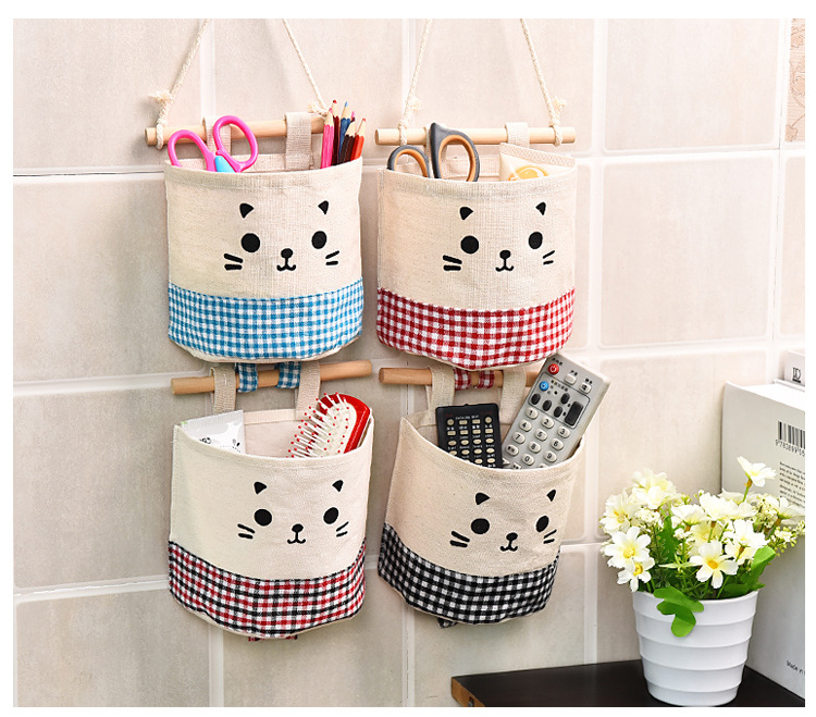 Cotton and linen single receive hang bags hanging round Wall hung pocket cloth art sundry store content bag the wardrobe door(China (Mainland))