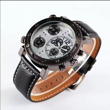 Oulm hombres de la marca Dress Watches moda reloj Casual pu correa de cuero del reloj del cuarzo analógico Relojes Hombre del Relogio Feminino