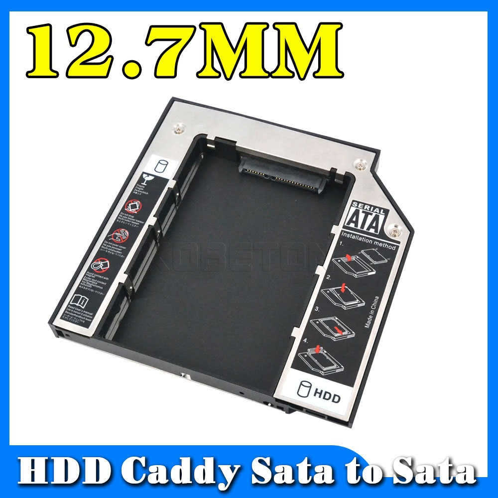 Universal Aluminum add plastic External 2nd hdd caddy SATA to SATA Case Enclosure for laptop 12.7mm CD DVD ROM Optical Bay(China (Mainland))
