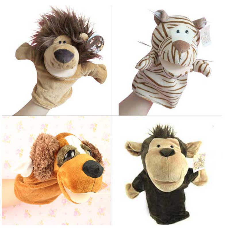 1pc/Lot Free Shipping Hand Puppets Animal Toys Lovely Dolls Baby Toys Cute Cartoon Plush Toys Lion Tiger Children Puppet 1i3P(China (Mainland))