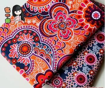 2 Pcs 50x50cm Mix Ethnic Style cotton fabric tecidos ,Floral Print DIY Tissue Sewing Doll Quilting Series Patchwork fabric C004