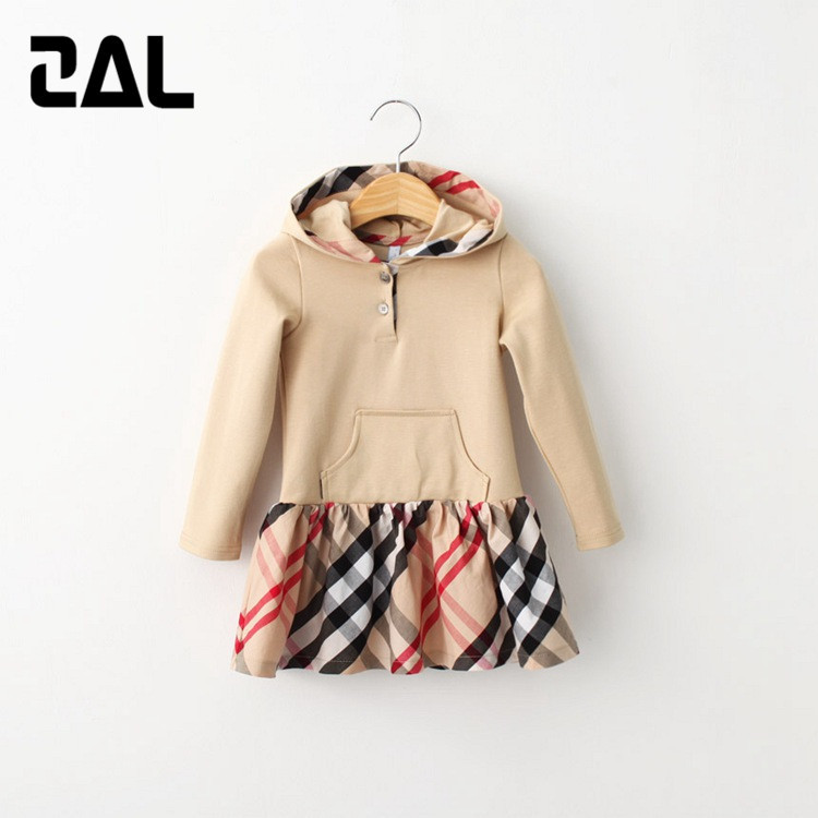 2015 New European Style Girls Hooded Long-sleeved Dresses Spring&Autumn A-Line Baby Girl Dress Kids Clothes vestido menina 8D(China (Mainland))