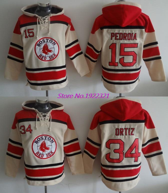 2016 New arrival Boston Red Sox Hoodies Jersey 15 Dustin Pedroia 34 David Ortiz Jersey Sweatshirts Baseball Hoodie M-3XL
